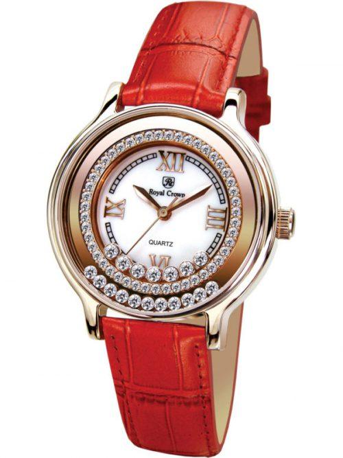 Đồng hồ nữ Royal Crown 3638 rose gold dây da đỏ