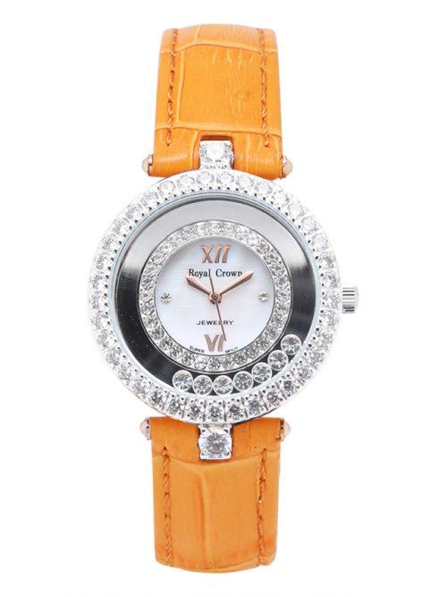 Đồng hồ nữ Royal Crown 3628 dây da cam