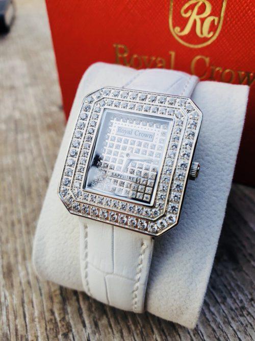 Đồng hồ nữ Royal Crown 3619 dây da trắng